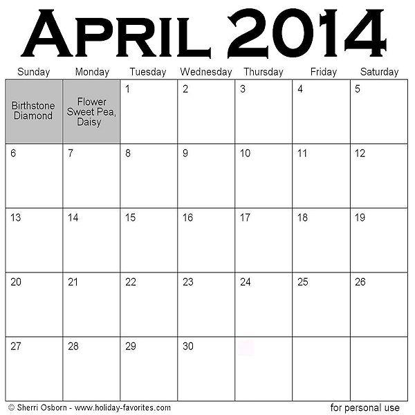 Holidays In April   Calendar Template 2016