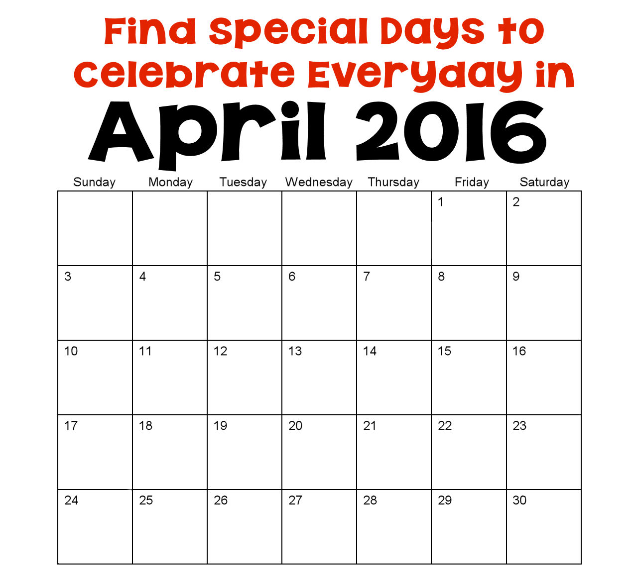 April Holidays and Special Days   Holiday Favorites